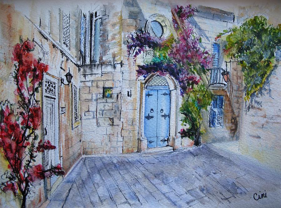 Red Painting - Malta Courtyard by Lisa Cini