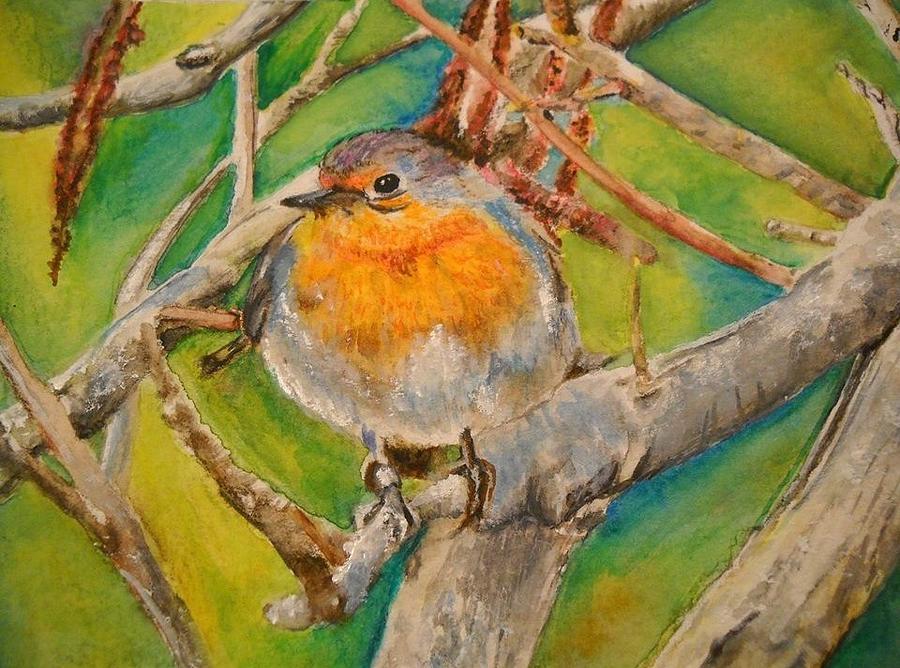 Malta Painting - Maltese Robin by Lisa Cini