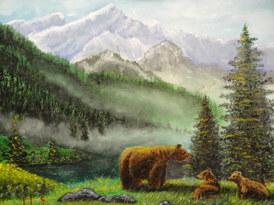 Animals Painting - Mama And Babies by Charles Vaughn