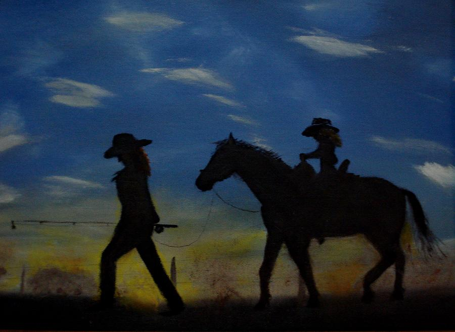 Horse Painting - Mama And Daughter Going Fishing by Edgar Verdin
