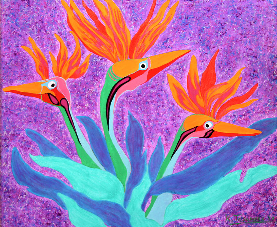 Floral Painting - Mama And Her Chicks By Ken Tesoriere by Lyric Artists