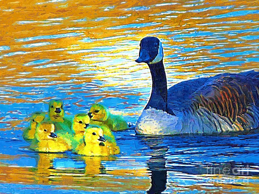Canadian Geese Painting - Mama And Her Goslings by Deborah MacQuarrie-Selib