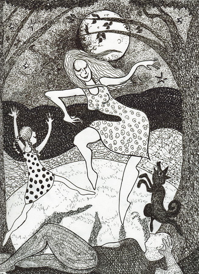 Pen And Ink Drawing - Mama Did The Moon Dance by Todd  Peterson