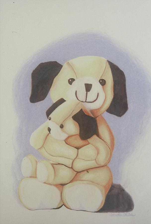 Dog Drawing - Mama Dog And Baby Dog  by Loretta Childs