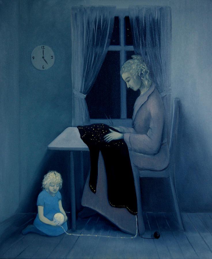 Woman Painting - Mama Knitting Big Sister Home by Tone Aanderaa