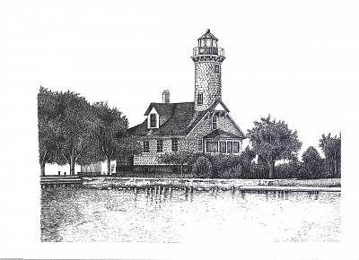 Detroit River Drawing - Mamajuda Lighthouse by John  R Harris