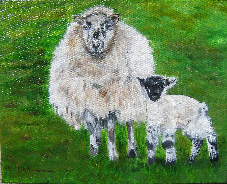 Ireland Painting - Mamma And Baby Sheep Of Ireland by LaVonne Hand