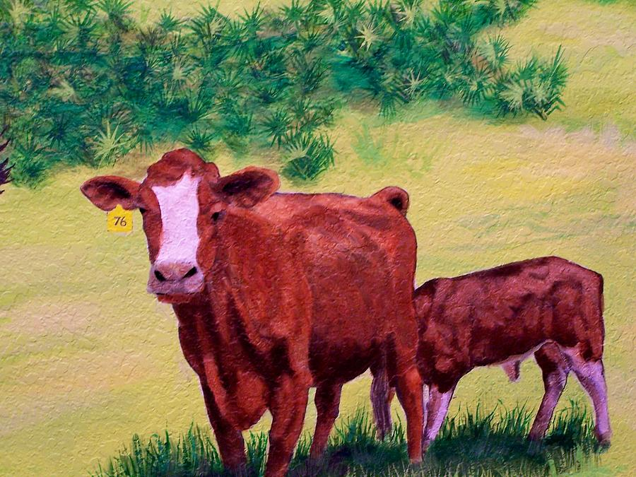 Cattle Painting - Mammyed Up by Charles Peck