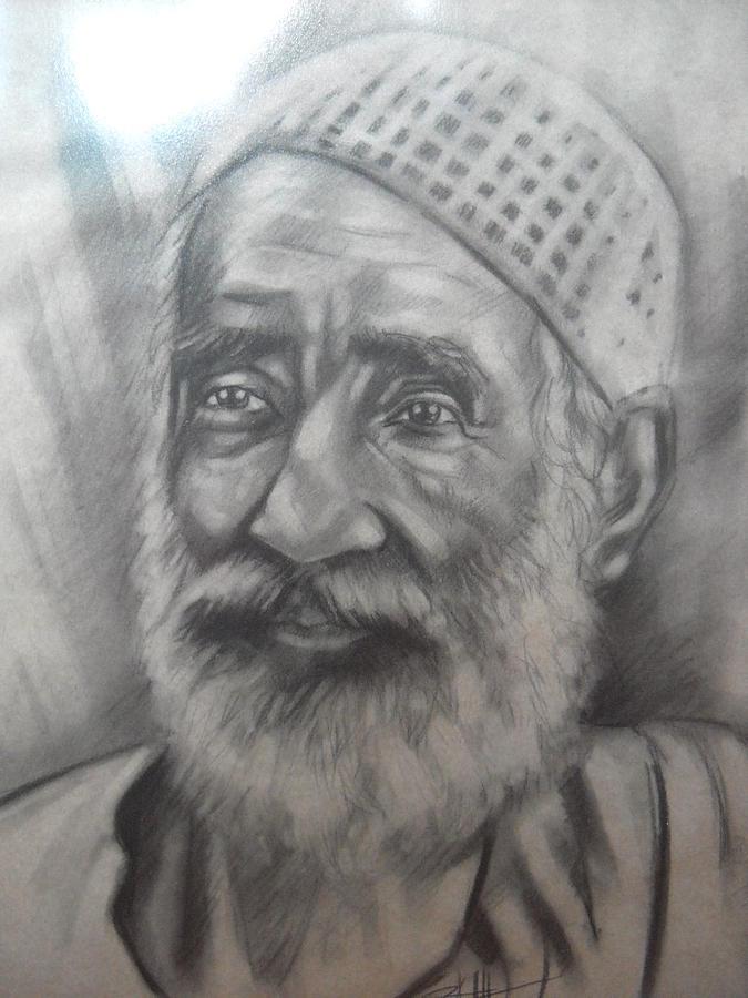 Portrait Drawing - Mamu by Aizam Solihin