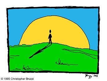 Man Digital Art - Man And Sun by Christopher Bruzzi