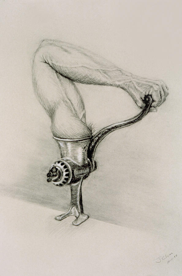Meat Grinder Drawing - Man And Technology by John Clum