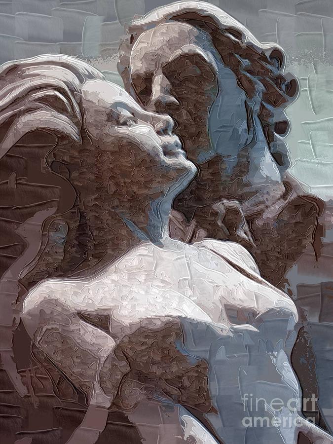 Statue Painting - Man And Woman In Love by Deborah Selib-Haig DMacq