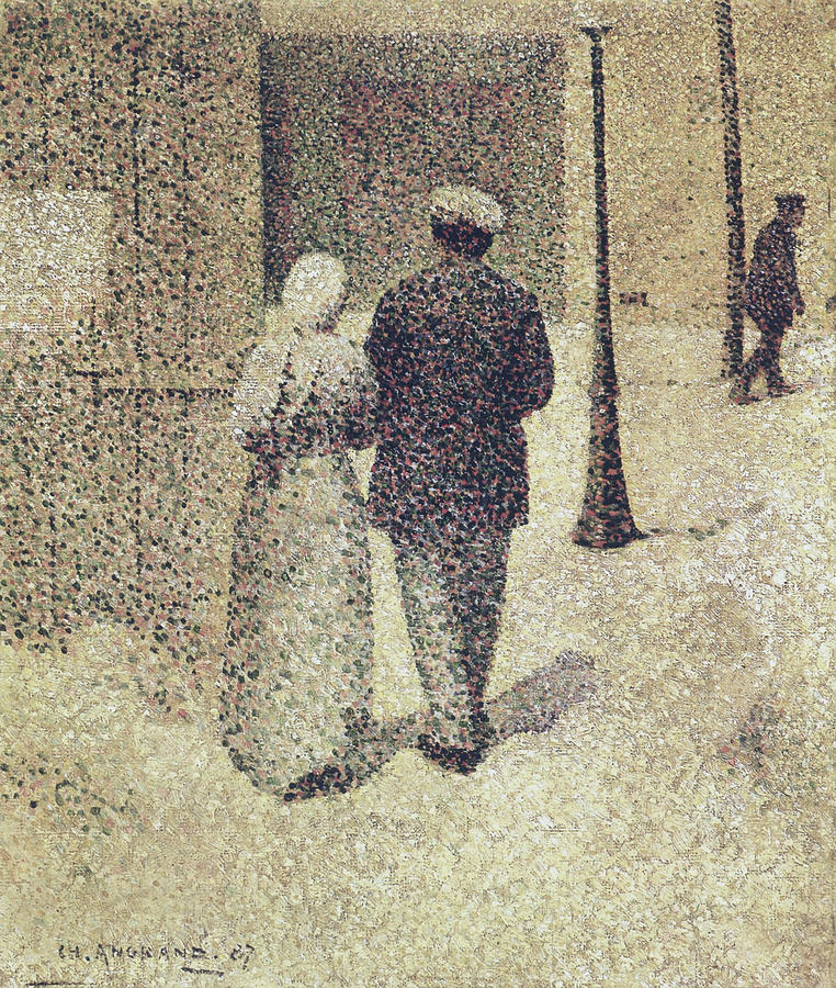 French Painters Painting - Man And Woman In The Street by Charles Angrand