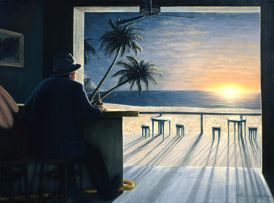 Sunset Painting - Man at the Bar by Lance Anderson