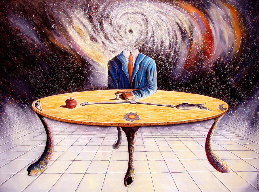 Surrealism Painting - Man Attempting To Comprehend His Place In The Universe by Darwin Leon