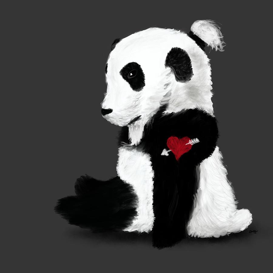 Panda Painting - Man Bun Panda by Dan Pearce