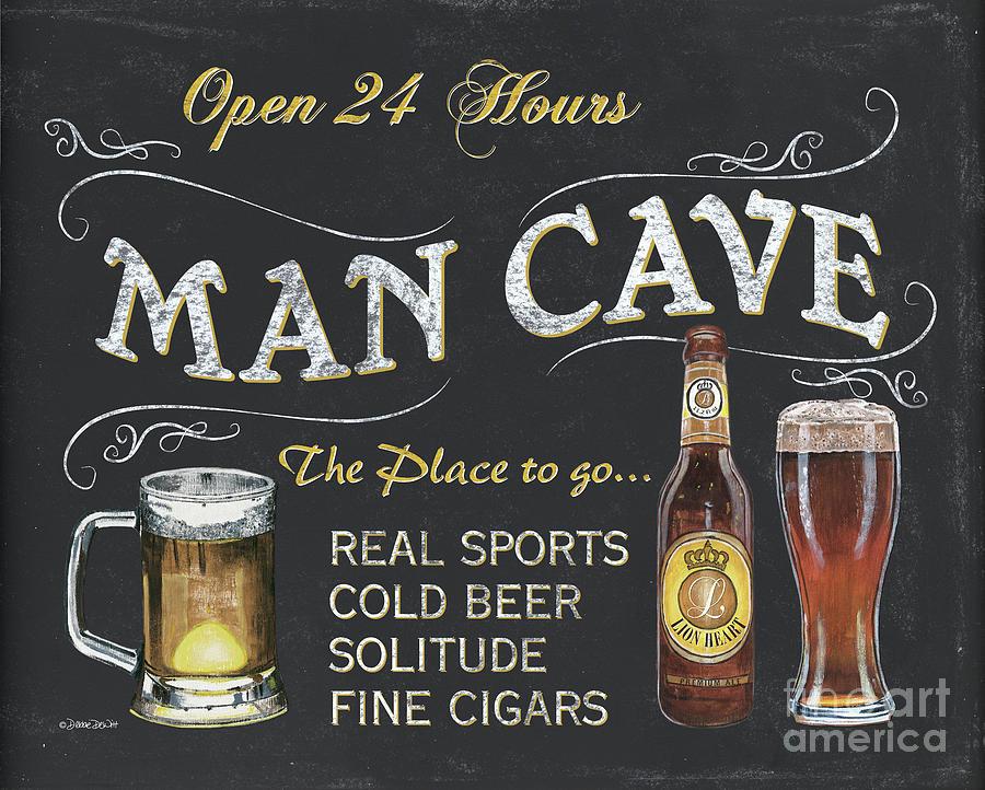 Sports Painting - Man Cave Chalkboard Sign by Debbie DeWitt
