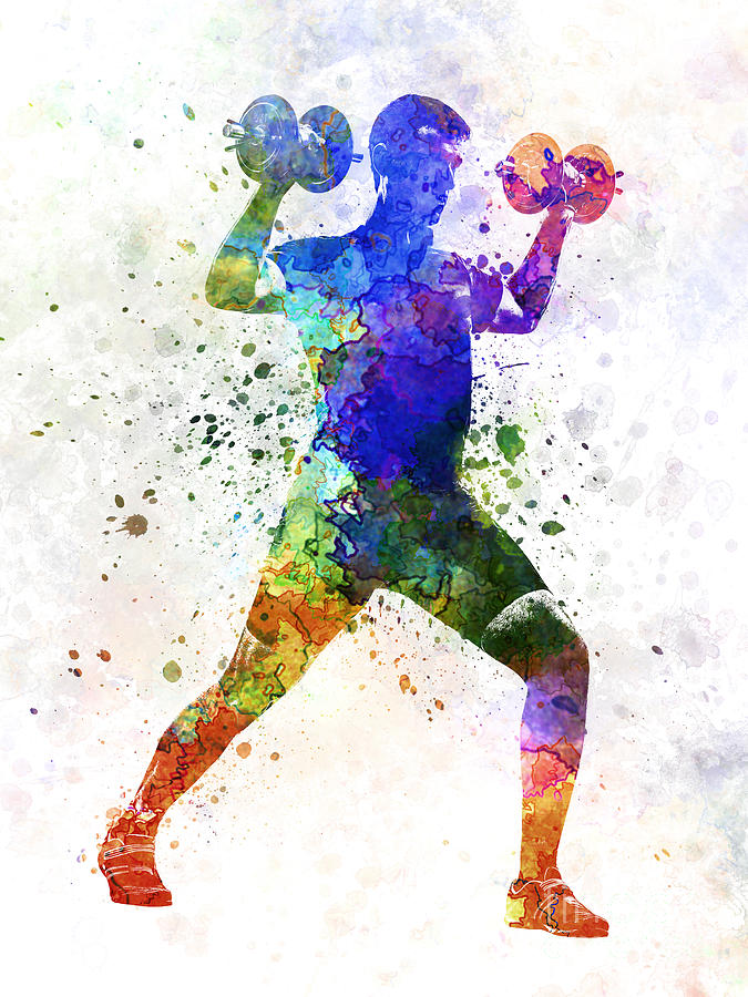 Body Painting - Man Exercising Weight Training by Pablo Romero