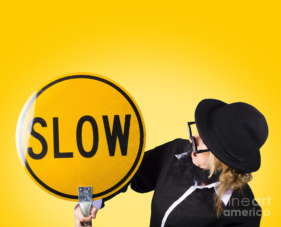 Activity Photograph - Man Holding Slow Sign During Adverse Conditions by Jorgo Photography - Wall Art Gallery