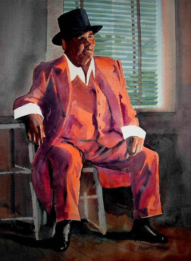 Figure Study Painting - Man In A Red Suit by Richard Staat