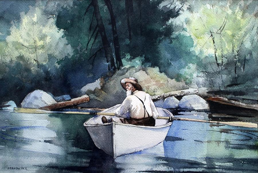 Fabulous Man In A Row Boat Painting by Michael Spakowsky UO36