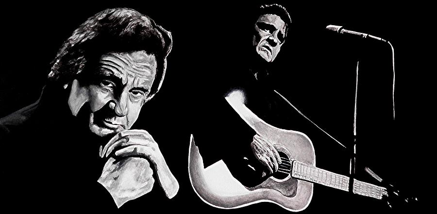 Johnny Cash Painting - Man In Black by Al  Molina