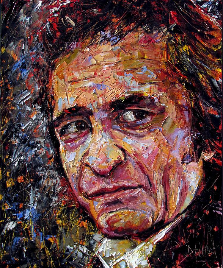 Debra Hurd Painting - Man In Black Johnny Cash by Debra Hurd