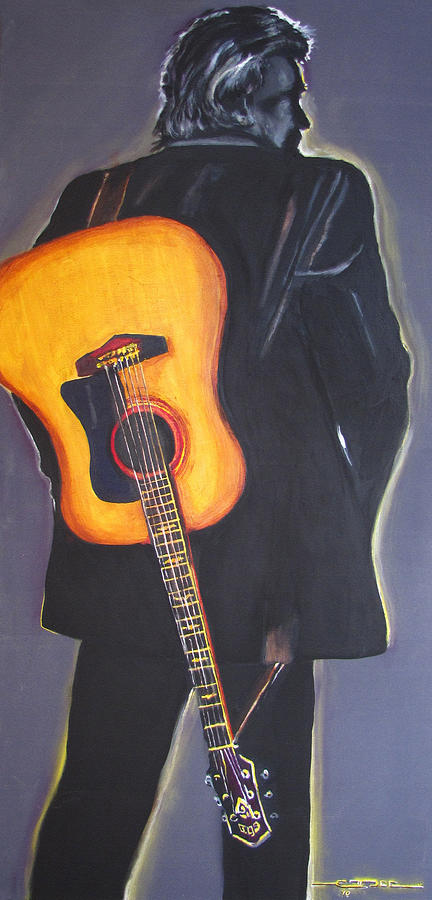 Johnny Cash Painting - Man In Blacks Back by Eric Dee