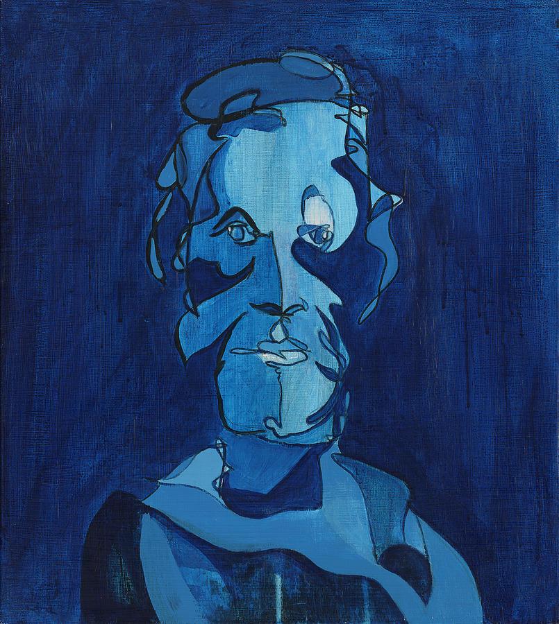 Portrait Painting - Man In Blue by John Gibbs