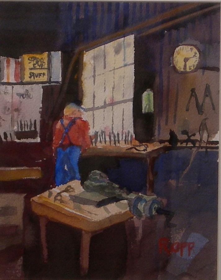 Workshop Painting - Man In His Workshop by Jan Rapp