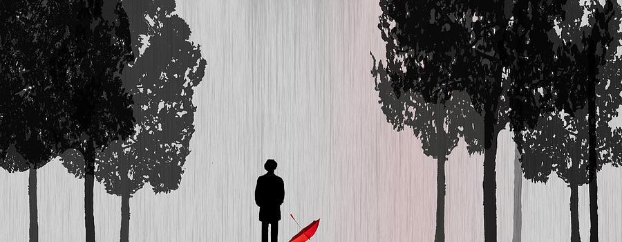 Rain Digital Art - Man In Rain by Jim Kuhlmann