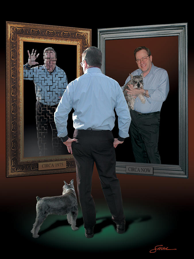 Contemplation Digital Art - Man in the mirror by Harold Shull