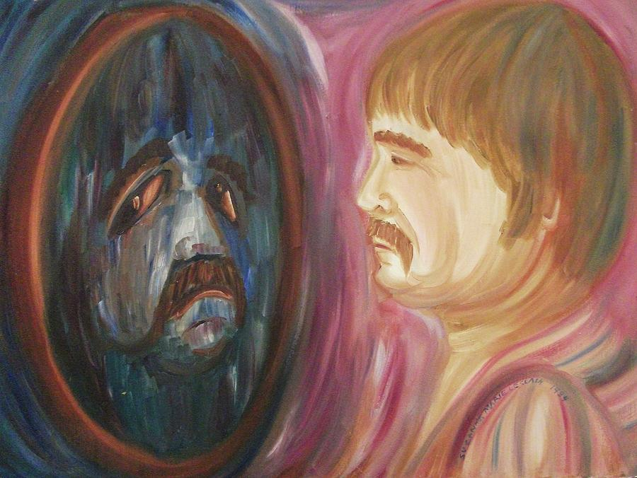 Man Painting - Man in the Mirror by Suzanne  Marie Leclair