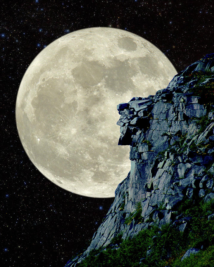 Man in the Moon Meets Old Man of the Mountain Vertical by Larry Landolfi