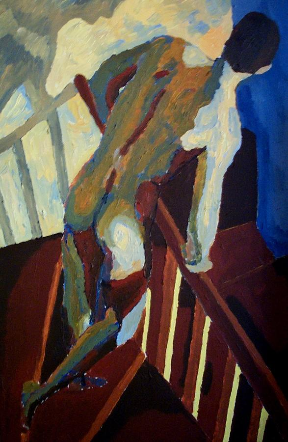 Nude Painting - Man In The Stairs by Mats Eriksson