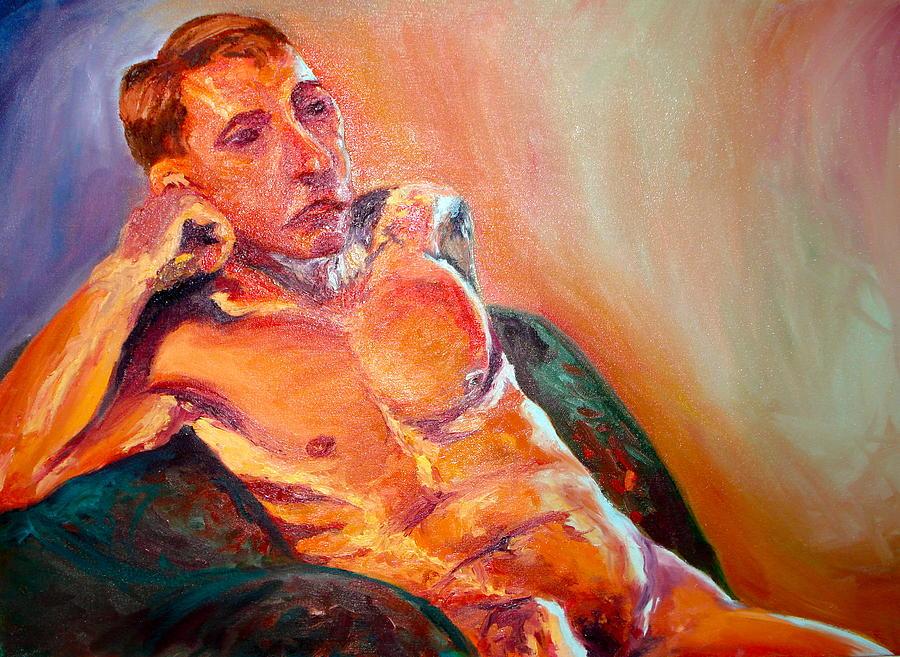 Nude Painting - Man Nude by Britta Loucas