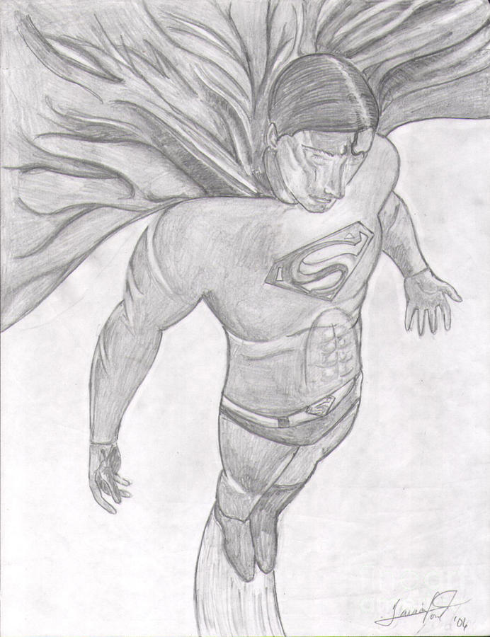 Man Of Steel Drawing by Tavian Ford