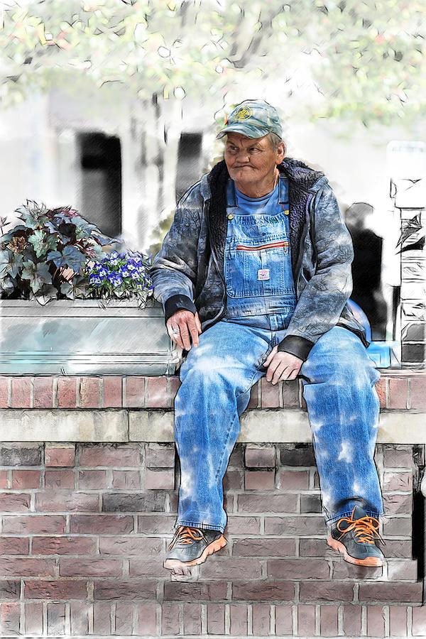 Old Man Photograph - Man On A Wall by John Haldane