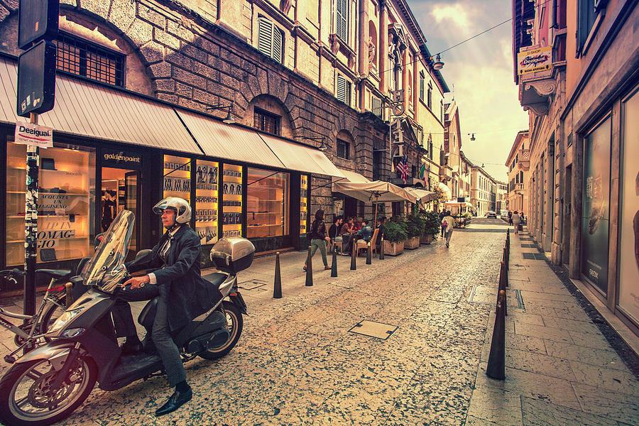 Man On Vespa In Verona Photograph