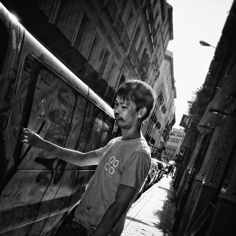Blackandwhite Photograph - #man #people #instapeople #streetpeople by Rafa Rivas