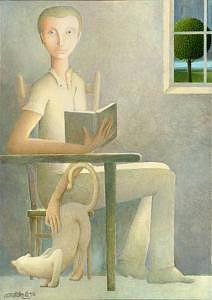2002 Painting - Man Reading by Giuseppe Mariotti