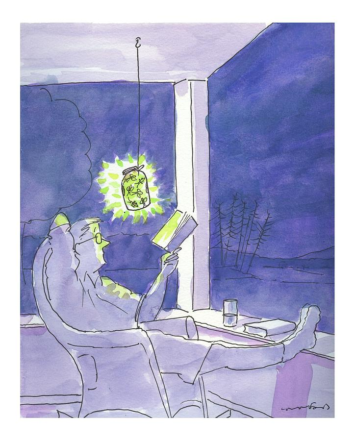 Man reads by the light of fireflies. Drawing by Michael Crawford