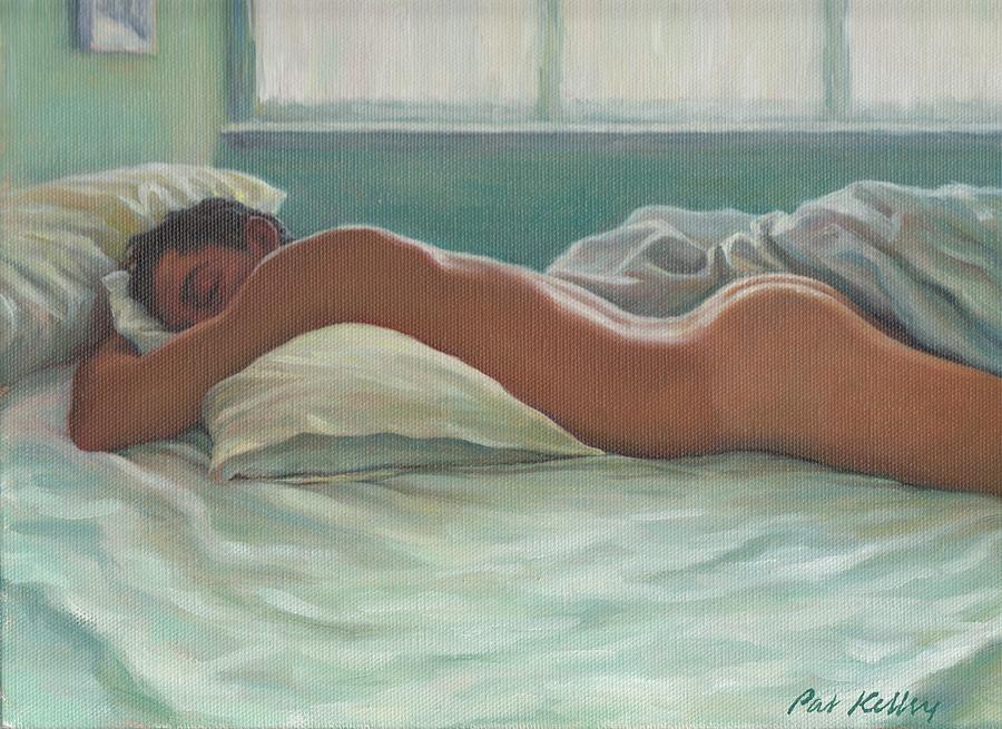 Male Nude Painting - Man Sleeping In Morning Light by Pat Kelley