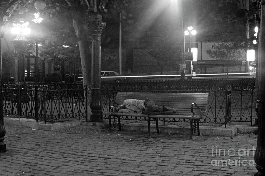 Man Photograph - Man Sleeping On Bench by Jim Corwin