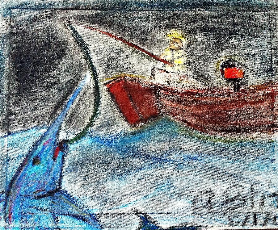 Man Pastel - Man Vs. Marlin by Andrew Blitman