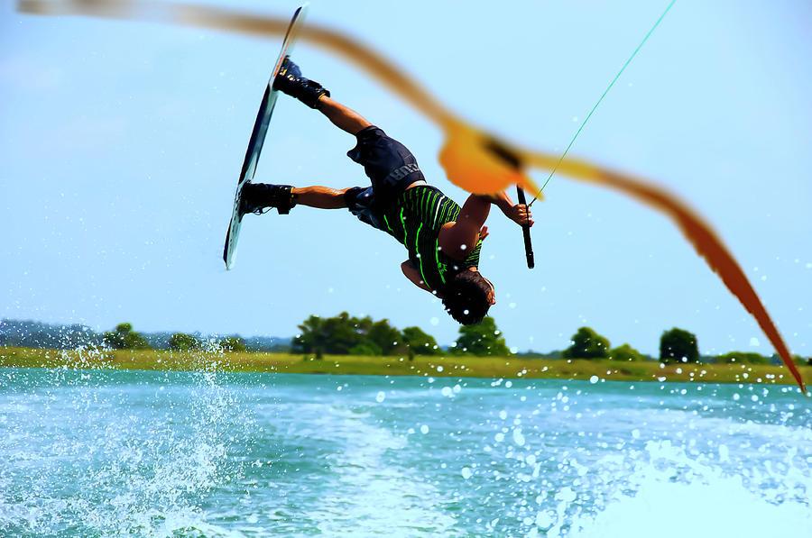 Water Photograph - Man Wakeboarding by Fernando Cruz