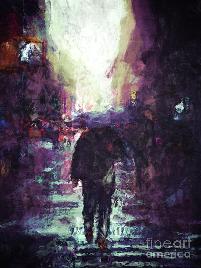 Digital Painting Digital Art - Man Walking Under Umbrella by Phil Perkins