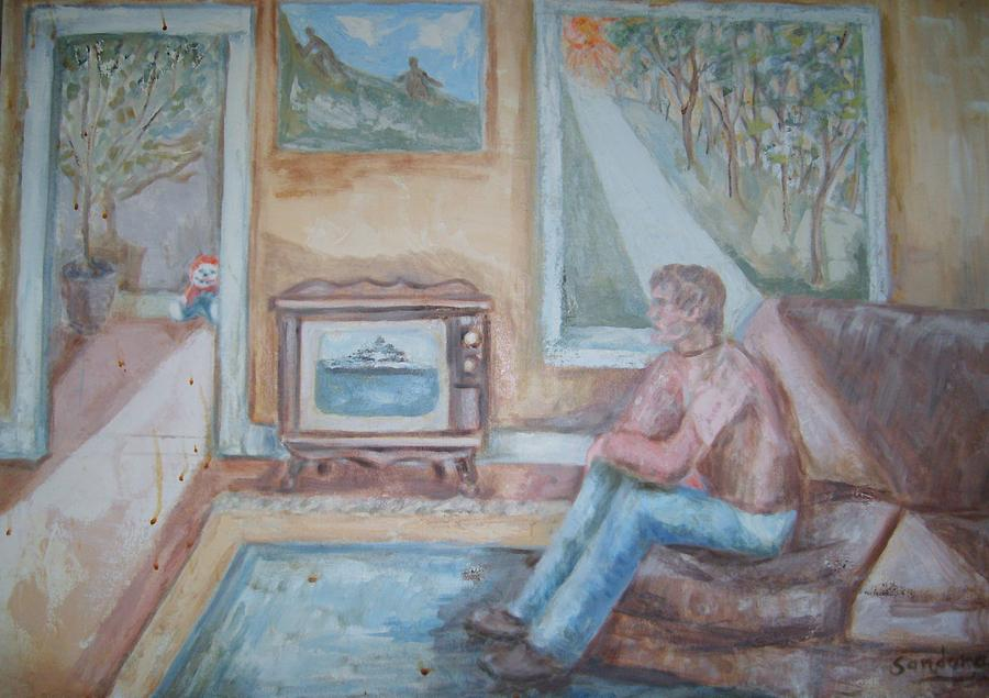 Man Watching Television Painting by Joseph Sandora Jr
