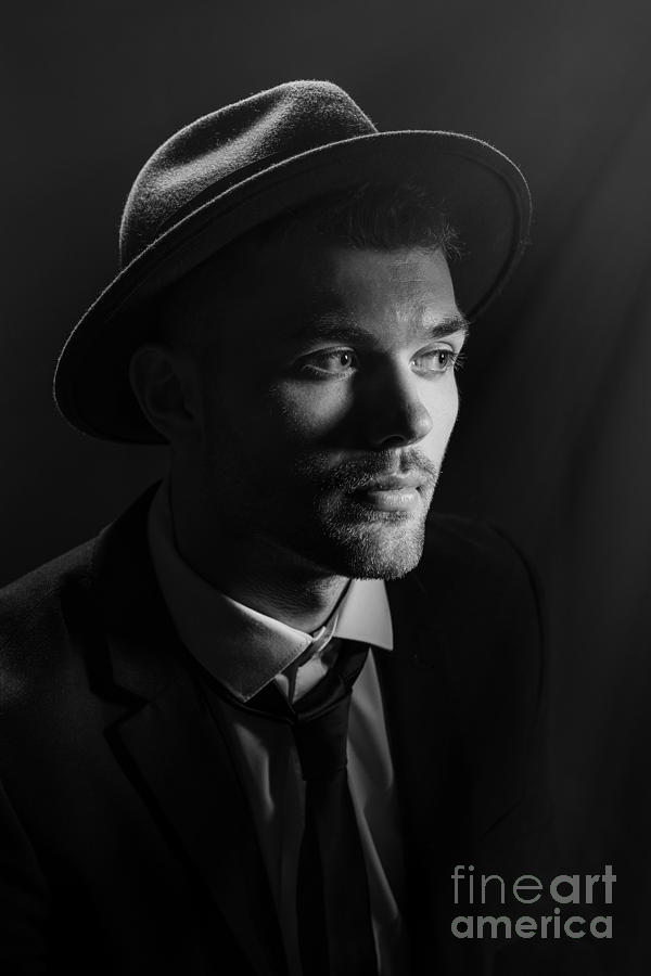 Male Photograph - Man Wearing Trilby by Amanda Elwell