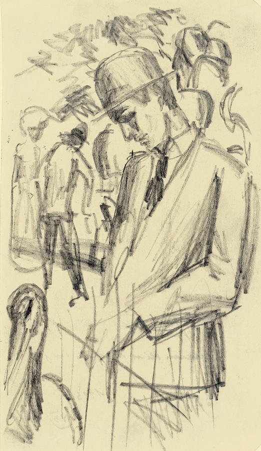 Man With A Crane In The Zoo Drawing By August Macke